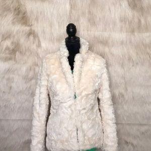 Forever 21 XXI Cream Faux Fur Coat Jacket Size M